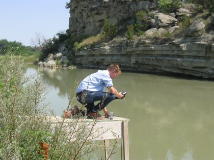 BSWC member, David Stout, conducting salinity monitoring on the Musselshell west of Roundup.